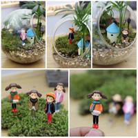 Wholesale Micro Landscape Girl Figurines DIY Garden Succulents Terrarium Home Tree Decorations DIY Accessories Kid Gift Mix Styles E409L