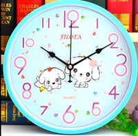 Wholesale 12 quot Cute Cartoon Lovely Dog Animal Kids Wall Clock Mute creative bedroom children gifts modern quartz clock Wall Clock Home Decoration