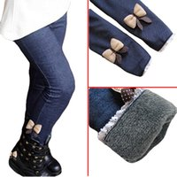 Wholesale Thick warm winter spring Jean pants butterfly girls trousers children pants Kids leggings hot sale