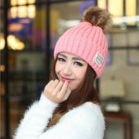 golf ball sleeves - The lady autumn winter warm fashion Ear Muffs knitted sleeve head hat sticking cloth letter fuzz ball of wool cap