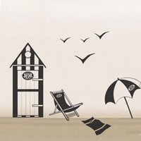 "Cheap 20""*28"" REMOVABLE SEA Sandy fan beach Seagull Chair WALL DECALS Vinyl Stickers house JM8084"