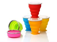Wholesale New Creative Portable Silicone folding cup multiple colors with steel ring for outdoorTravel camping collapsible trip