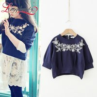 beautiful jumpers - Fashion Girls Hedging Sweater Three Quarter Sleeve Buffing Embroidery Jumper Beautiful Girls Tops Color Available