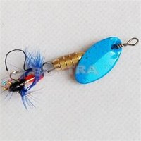 Wholesale 100 Brand New Fishing Spoon Spinner Baits Lures Bronze Metal Feather Fishing Lure