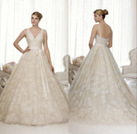 beaded works - Elegant V Neck Court Train Ball Gown Lace Bling Crystal Church Wedding Dresses Bridal Gown With Beaded Hand Working Ribbon Sash