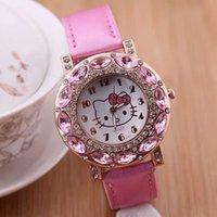 big red kitty - Hello Kitty women famous brand watch quartz watch cartoon big diamond watch design novel