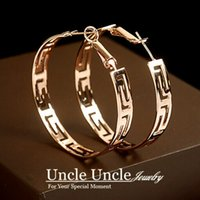 Wholesale 18K Rose Gold Plated Brand Design Round Shape Timeless Styling Exquisite Lady Hoop Earrings