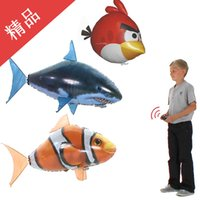 Wholesale Fish flying toy balloon a remote control air suspension flying helium rushed flying shark clown fish