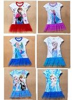 Wholesale Factory directly stockings EMS FEDEX discount summer dress baby girls dresses frozen Princess Gauze Anna Elsa kid apparel MAY54