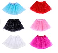 Cheap 6 Color Star Glitter Sparkle Tulle Tutu Ballet Girl Dance Skirt Costume Party Skirt 20pcs