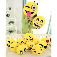 Wholesale 100pcs Diameter cm Cushion Cute Lovely Emoji Smiley Pillows Cartoon Facial QQ Expression Cushion Pillows Yellow Round Stuffed Pillow