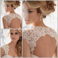 bolero jacket wedding dress - Ivory White Sleeveless Bridal Lace Bolero Jacket Keyhole Back Lace Wedding Jacket with Sequins for Wedding Dress