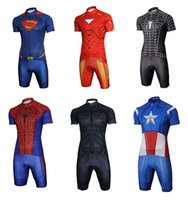 achat en gros de cycliste maillots d'araignée-2015 Nouvelle Collection The Avengers Cycling Jersey Sets Superman Ironman Black Spider-man Red Spider-man Batman Captain America Bicycle Jersey Set