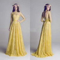 al color - Hamda Al Fahim Newest Evening Dress with Long Sleeves Bateau Neck Backless Yellow Lace Prom Dress Formal Gown Bridesmaid Dresses