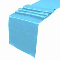 100% Polyester aqua table decorations - 5pcs Aqua Blue Satin Table Runner Wedding Cloth Runners Silk Organza Holiday Favor Party Decorations RUN