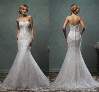 Cheap 2016 Vintage Mermaid Lace Wedding Dresses Strapless Button Back Floor Length Amelia Sposa Trumpet Bridal Gowns