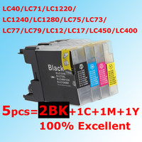 Wholesale 5PCS BK C M Y LC40 compatible ink cartridge for Brother LC40 LC71 LC1220 LC1240 LC1280 LC75 LC73 LC77 LC79 LC12 LC17 LC450 LC400
