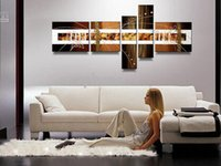 Cheap NEW!!5 Panel 100% Handpainted Large Canvas Art Modern Oil Painting Abstract Wall Decor Pictures
