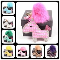 Wholesale Lady Bags Accessories Little Pony Horse Keychain Fox Feather Monster Keychain Women Handbag metal Trendy Stuff For Bag With BOX Colors