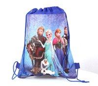 Wholesale Frozen design kids children cartoon print drawstring non woven fabric backpack school bags baby shoulder bag