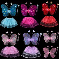 magic set - Children s Day Butterfly Performance Set Kids Girls Magic Wand Wings Hairband Skirts Sets Sequin Stage Wear