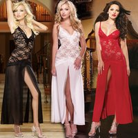 Wholesale 2016 Sexy New women lace Club Lingerie set Women A line sleepwear dresses See Thru Nightdress t back White Black hot Red Sex Costumes M L XL