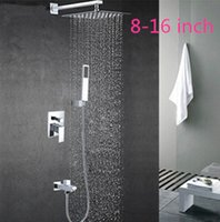 Wholesale high quality luxury brass bathroom inwall concealed square shower sets with down water jets inch inch inch inch avaliable