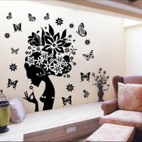Wholesale 2015 Flower Fairy Wall Stickers Wall Sticker Tree Wallpaper Kids Photoframe Art Right Facing Removable Wall Stickers