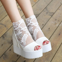 Sandals ballet wedge sandal - the summer shoes sponge bottom sandals within thick bottom gauze fish mouth high heeled shoes wedges