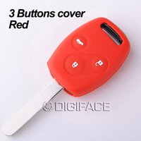 accord sticker - Red silicone car key fob skin shell stickers cover case set for honda Accord CR V Civic Fit Freed buttons keyrings car accessories