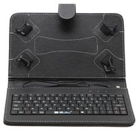 Wired Folding Folding 7 inch Mirco USB Keyboard Case PU Leather Folding Folio Wallet Shape Stand Smart Cover Cases for 7 Inch Tablet PC 6 Colors