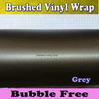 aluminum metal roofing - Metal Grey Brushed Steel Vinyl Car Wrap Film Vehicle Wrap Air Bubble Free Anthracite Metallic Matt Brushed aluminum Vinyl x30M Roll