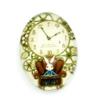 Cheap 30PCs Glass Cabochons Flatback Robbit Clock Printed Oval Multicolor 18mmx13mm