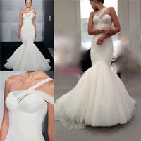 Wholesale Mark Zunino Soft Tulle Mermaid Wedding Dresses with Asymmetrical One Shoulder Strap For Boho Bridal Sale Cheap Plus Size Vestidos Gowns