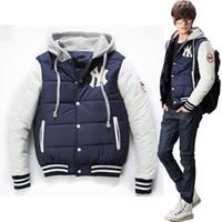 baseball applique jacket - 14 winter new fashion hot New York Yankees NY logo baseball style personalized hooded black jacket coat