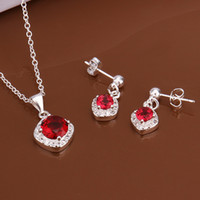 Wholesale High grade sterling silver Piece inlaid ruby jewelry sets DFMSS547 brand new Factory direct sale wedding silver necklace earring