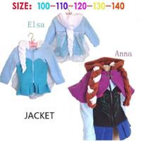 Wholesale dhl Frozen cm Elsa Anna princess Coat winter cartoon Plush Outerwear Hoodie Outerwear Jackets for children baby girls