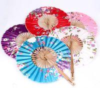 chinese dance fans - The windmill Japanese folding Circular fan Chinese Silk Cloth women s dance wedding hand fan NO