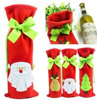 Wholesale Christmas Decoration Santa Wine Bottle Bag Cover Dinner Party Table Xmas Decor