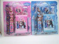 Wholesale 200set New Frozen Wallet Suit Children Stationery Set set Pencil ruler pencil sharpener eraser wallet