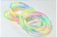 Wholesale crazy selling Silicone bracelet luminous SPORTS BRACELET Fluorescent color Wristband female multi color bracelet DHL