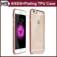 Wholesale iPhone Thin Electroplating Bumper Soft TPU Case For iPhone S SE S Plus Clear Back Skin Cover Free DHL