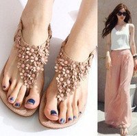 sandals for women 2014 - new Summer Sexy Beautiful Sandals flat Women Sandals Bohemian ankle wrap Slope drag flower shoes for women XWZ187