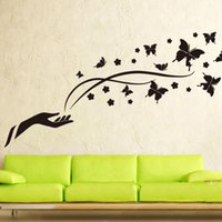 animal house wallpaper - 1pcs Romantic Black Butterfly Wall stickers Living Room Bedroom Poster House decorative temporary Wallpaper Decals Home Ornament