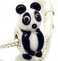 european beads free shipping - Handmade Animal beads SILVER MURANO GLASS Diy BEAD LAMPWORK panda fit new European Charms Bracelet D8