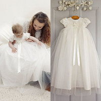 Girl baptism gowns - 2015 Cutest Christening Dresses for Baby Girl Empire Jewel Neck Short Sleeves Baptism Gowns Lace Appliques Ribbon First Communion Gowns