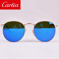 gold sunglasses - New Round Metal Sunglasses Designer Eyewear Gold Flash Glass Lens For Mens Womens Mirror Sunglasses Round unisex sun glasses