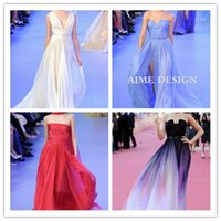 Model Pictures royal blue wedding dresses - 2015 Real Image White Sky Blue Chiffon Elie Saab Formal Celebrity Evening Gowns Pleats Slit Pageant Prom Dress Occasion Wedding Maxi Stock