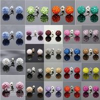 Wholesale Fashion Sparkle mm Round Shape Swarovski Disco Crystal Ball Stud Rhinestone Earrings for Women Wedding Party