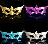 Wholesale 4color Sexy Halloween Masks Mix color Sexy Mask Electroplating Party Mask